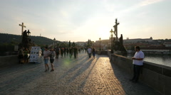 Sunset over Charles Bridge in Prague Stock Footage