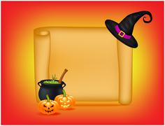 Halloween banner, card with empty paper scroll and witches cauldron, green po - stock illustration