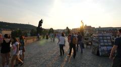 Walking on Charles Bridge at sunset, Prague Stock Footage