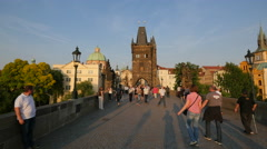 Admiring the view from Charles Bridge in Prague Stock Footage