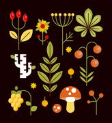 Autumn Natural Wood Elements in Flat Style, Vector Illustration Set Stock Illustration