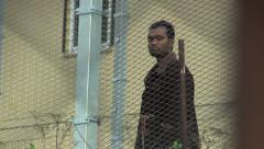 Refugee placement in a detention camp in Vysni Lhoty Stock Footage