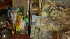 Creative Studio. Storage for canvases Stock Footage