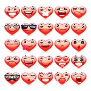 Valentine Heart Emoticons Collection - stock illustration