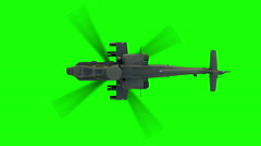 Military helicopter Apache . Realistic animation. Green screen - stock footage