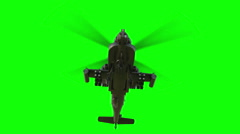 Military helicopter Apache . Realistic animation. Green screen Stock Footage