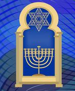 Nine branched candle holder and David star in synagogue window. Gold Hanukkah Stock Illustration