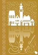 Christmas card with old city idyllic white silhouette on gold background with - stock illustration