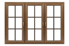 brown wooden window isolated on white background - stock illustration