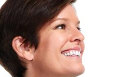 Beautiful smiling lady face. Stock Photos