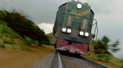 The train rushes. Realistic 3d animation Stock Footage