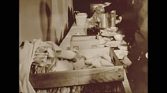 Vintage 16mm film, 1953, soldiers lining up for meal #2 - stock footage