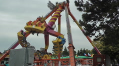 Carousel in amusment park Stock Footage