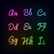 Neon rainbow color glow alphabet. - stock illustration