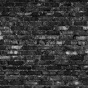 Brick wall, black relief texture with shadow - stock illustration
