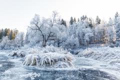 Winter landscape, river under the ice - stock photo