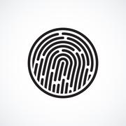 Fingerprint identification system, black symbol isolated on white - stock illustration