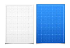 White and blue isolated square grid set with shadow - stock illustration
