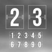 Outline countdown timer, white color flat mechanical scoreboard - stock illustration