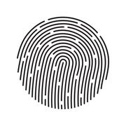 Stock Illustration of Fingerprint identification system, black symbol isolated on white