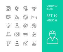 Stock Illustration of Outline icons thin flat design, modern line stroke style