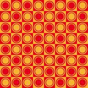 Geometric pattern with red and yellow squares and double circles - stock illustration