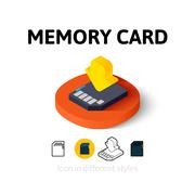 Memory card icon in different style - stock illustration