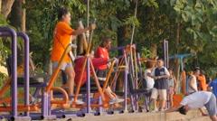 Thai people doing fitness,Ubon Ratchathani,Thailand Stock Footage
