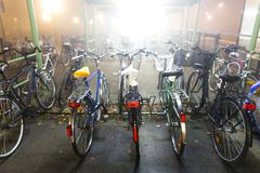 Stock Photo of Bikes in bicycle rack