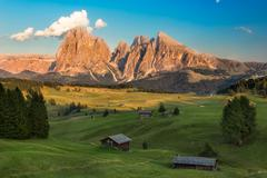 Seiser Alm with Langkofel Group in afternoon light, South Tyrol, Italy - stock photo