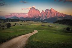 Seiser Alm with Langkofel Group after sunset, South Tyrol, Italy Stock Photos