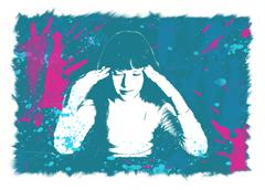 The girl is hurt by the head - stock illustration