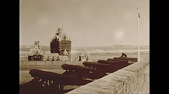 Vintage 16mm film, 1953, citadel cannons and chateau Frontenac hotel Stock Footage