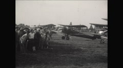 Camera Pan of crowd and Bi-Planes at Airshow  - stock footage