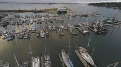 Aerial ship yard gloomy Stock Footage