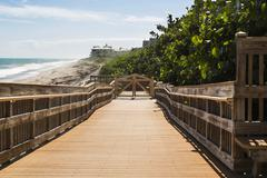 Wooden path to the beach, Florida - stock photo