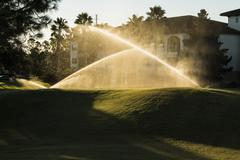 Golf course sunrise and landscaped grass. Watering the lawn. Orlando, Florida - stock photo