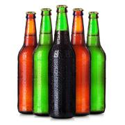 Set of beer's bottles with frosty drops isolated - stock photo