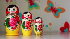 Russian Matryoshka Doll Stock Footage