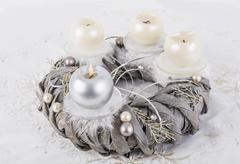 advent wreath with metallic candles - stock photo