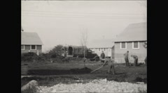 CCC workers on camp ground 1936 Stock Footage
