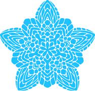 Stock Illustration of Abstract vector turquoise round lace design in mono line style - mandala, eth