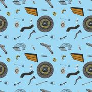 Pattern with the image of the new parts for the car - stock illustration