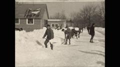 CCC camp shovel snow 1936 take 2 Stock Footage