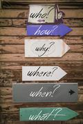 Concept image of the questions and answers on a signpost. - stock photo