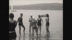 Young Women in bathing suits at beach in Newport RI 1930 Stock Footage