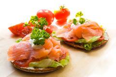 Snack with salmon - stock photo