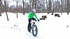 Winter Mountain Bike Race at Hyperborea Snow Fest in Petrozavodsk, Russia - stock footage