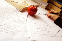 Physics desk - stock photo