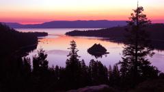 A beautiful dawn establishing shot of Emerald Bay at Lake Tahoe. Stock Footage